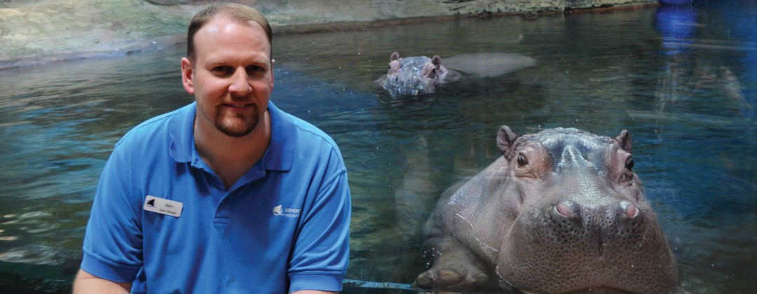 Resources for Independent Living -Mark with Hippos at Adventure Aquarium